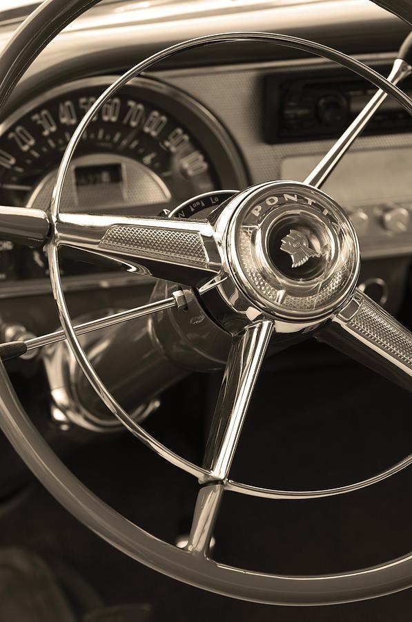 1953 Pontiac Photograph - 1953 Pontiac Steering Wheel - Sepia by Jill Reger