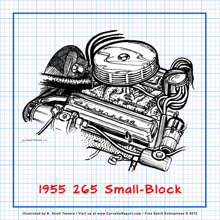1955 265 small block chevy corvette engine blueprint drawing by k corvette drawing 1955 265 small block chevy corvette engine blueprint by k scott teeters malvernweather Images