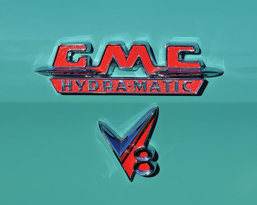 Emblem Photograph - 1955 Gmc Suburban Carrier Pickup Truck Emblem by Jill Reger