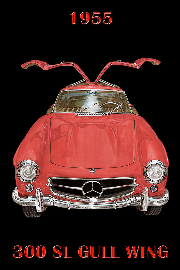 1955 Mercedes Benz 300sl Gull Wing Coupe Painting - 1955 Mercedes Benz 300sl Gull Wing  by Jack Pumphrey