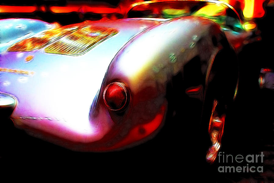 Transportation Photograph - 1955 Porsche 550 Rs Spyder . Color Sketch Style by Wingsdomain Art and Photography