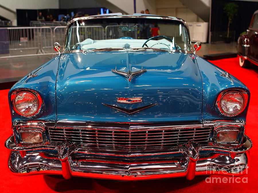 Transportation Photograph - 1956 Chevrolet Bel-air Convertible . Blue . 7d9246 by Wingsdomain Art and Photography