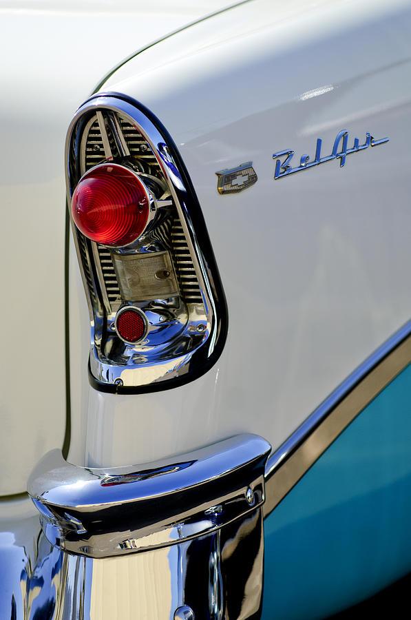 Taillight Photograph - 1956 Chevrolet Belair Taillight Emblem by Jill Reger