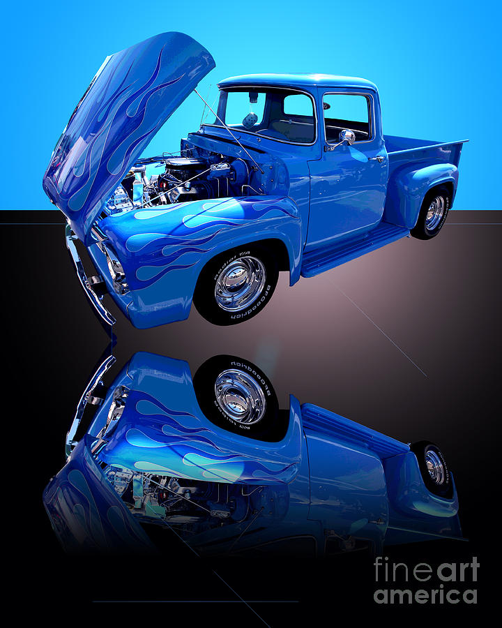 Car Photograph - 1956 Ford Blue Pick-up by Jim Carrell