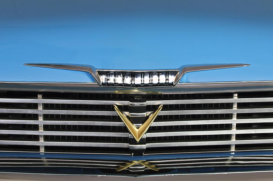 Classic Car Photograph - 1958 Plymouth Belvedere Convertible Grille Emblem by Jill Reger