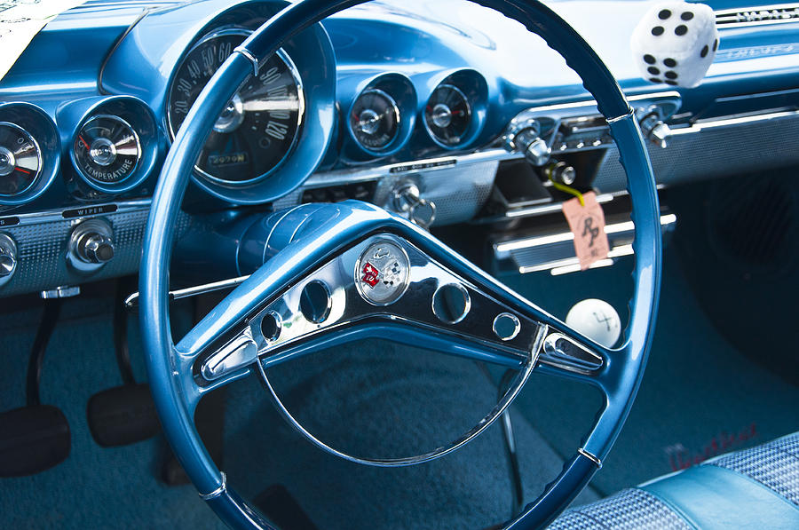 1960 Chevrolet Impala Steering Wheel Photograph By Glenn