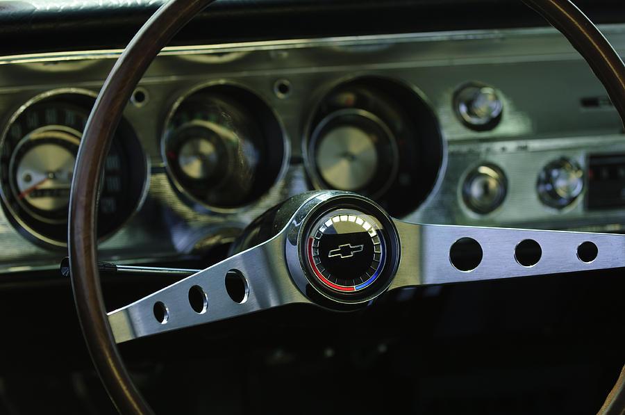 Steering Wheel Photograph - 1965 Chevrolet Chevelle Malibu Ss Steering Wheel by Jill Reger