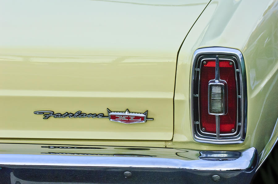 Taillight Photograph - 1966 Ford Fairlane Xl Taillight Emblem by Jill Reger