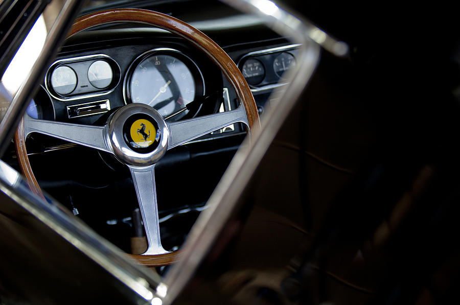 1967 Ferrari 275 Gtb 4 Photograph - 1967 Ferrari 275 Gtb 4 Steering Wheel Emblem by Jill Reger