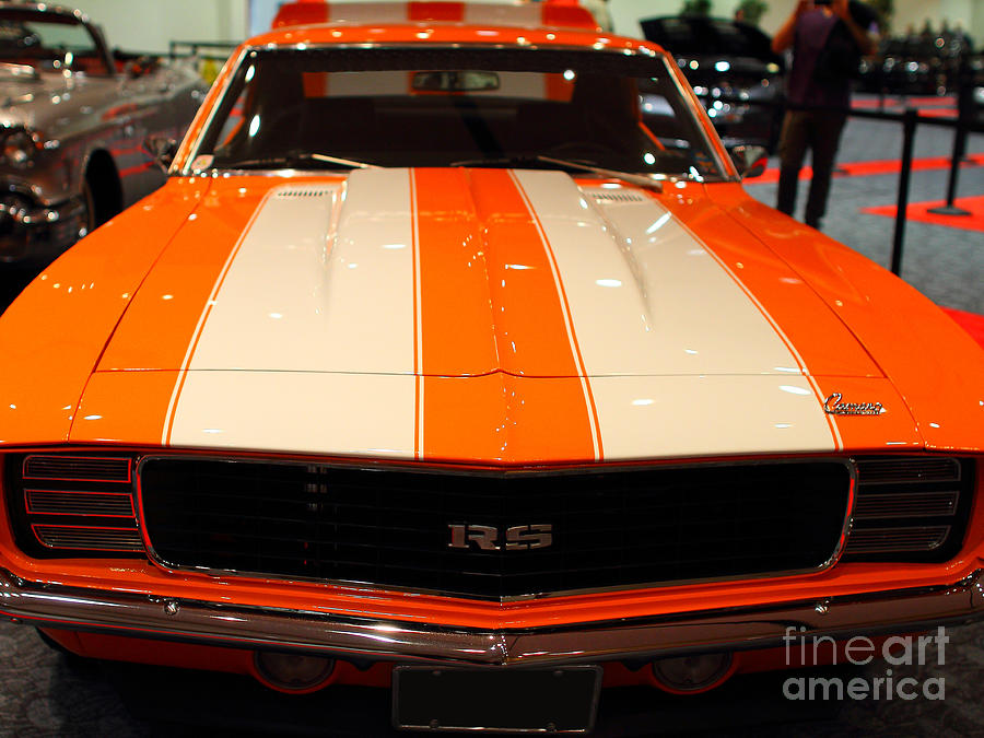 Transportation Photograph - 1969 Chevrolet Camaro 350 Rs . Orange With Racing Stripes . 7d9428 by Wingsdomain Art and Photography