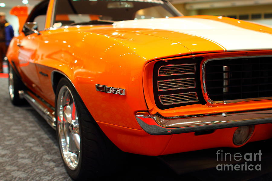 Transportation Photograph - 1969 Chevrolet Camaro 350 Rs . Orange With Racing Stripes . 7d9432 by Wingsdomain Art and Photography
