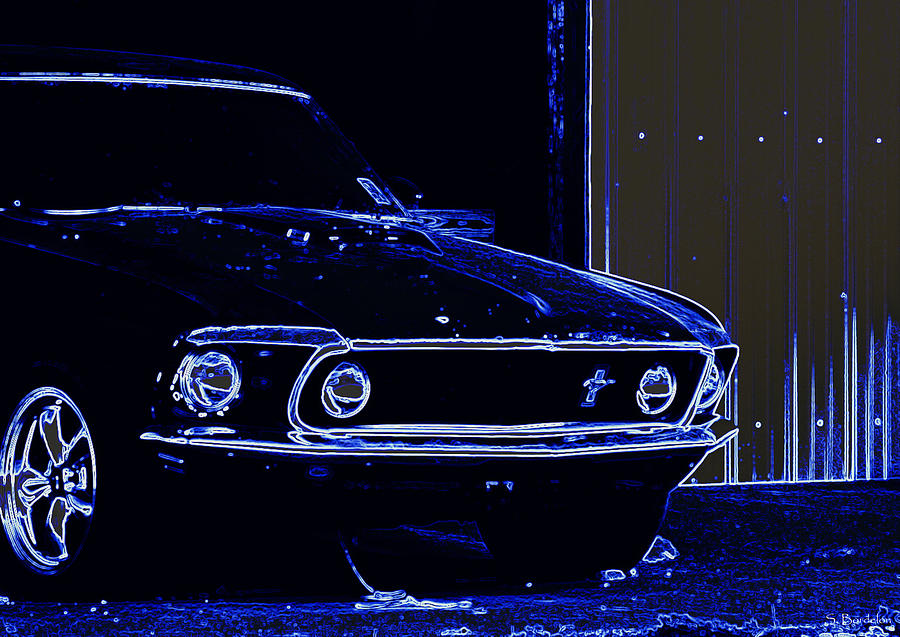 1969 Mustang Photograph - 1969 Mustang In Neon by Susan Bordelon