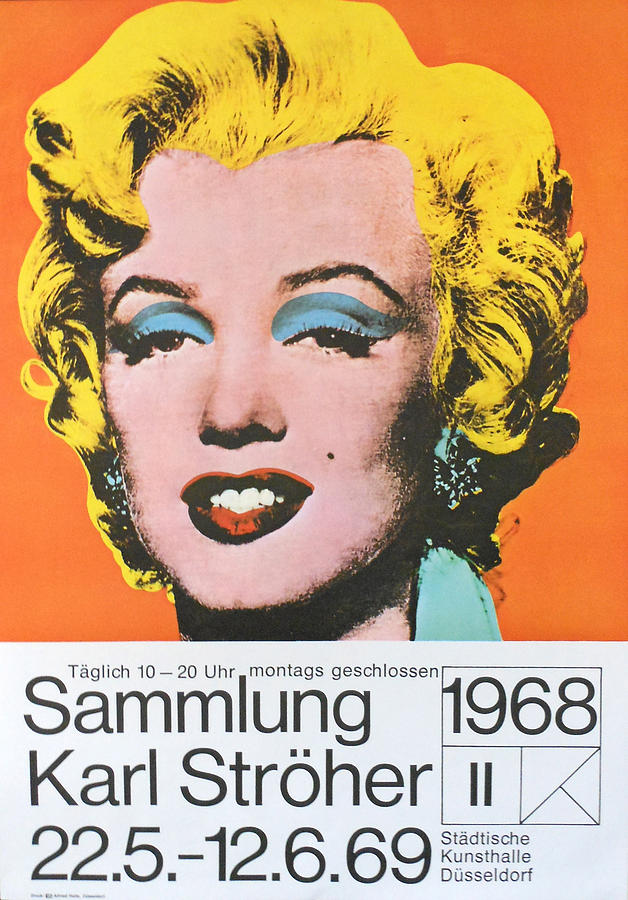 Vintage Painting - 1969 Original German Exhibition Poster - Marilyn Monroe - Andy Warhol by Andy Warhol
