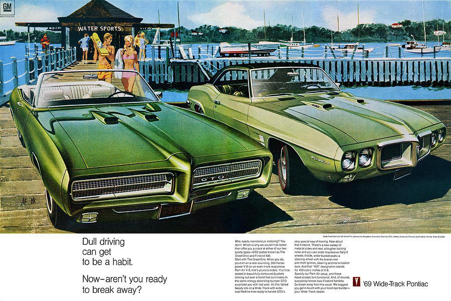 Home Depot Pontiac >> 1969 Pontiac Gto And Firebird Digital Art by Digital Repro Depot