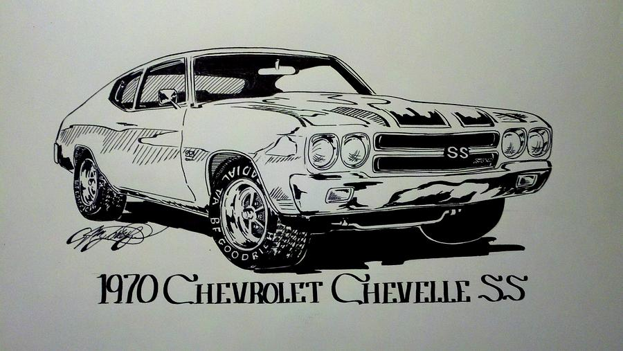 1970 Chevrolet Chevelle Ss Drawing By Jim Porterfield