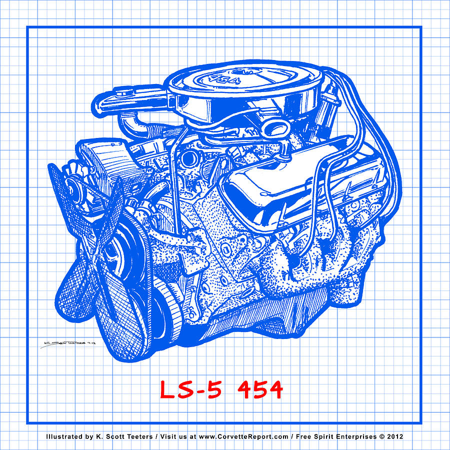 1970 ls5 454 big block corvette engine blueprint drawing by k scott 1970 corvette drawing 1970 ls5 454 big block corvette engine blueprint by k scott malvernweather Gallery