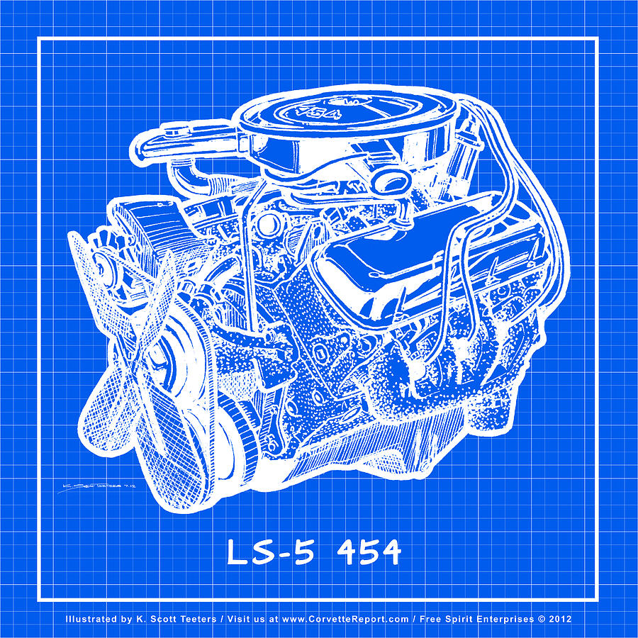 1970 ls5 454 big block corvette engine reverse blueprint drawing by 1970 corvette drawing 1970 ls5 454 big block corvette engine reverse blueprint by k malvernweather Gallery
