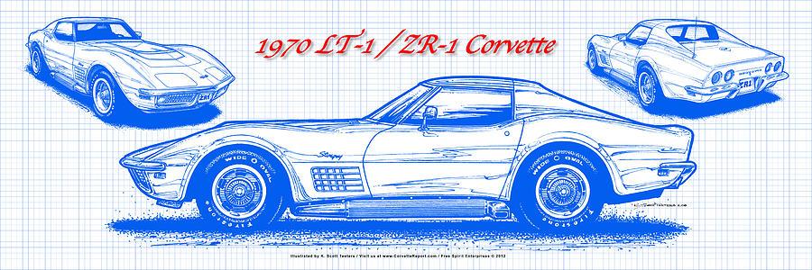 1970 lt 1 and zr 1 corvette blueprint digital art by k scott teeters 1970 corvette digital art 1970 lt 1 and zr 1 corvette blueprint by malvernweather Gallery