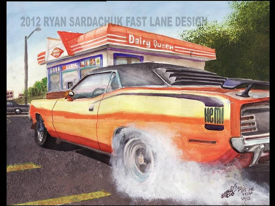 Burnout Painting - 1970 Plymouth Hemi Cuda Burning Rubber by Ryan Sardachuk