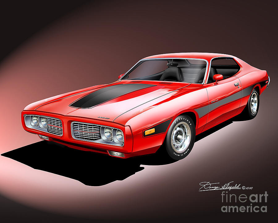 Chrysler Drawing - 1973-1974 Dodge Charger by Danny Whitfield