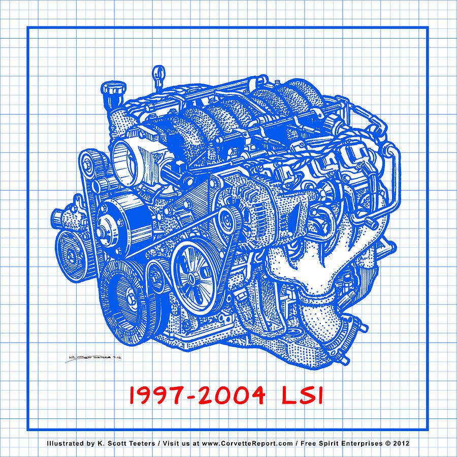 1997 2004 ls1 corvette engine blueprint drawing by k scott teeters c5 corvette drawing 1997 2004 ls1 corvette engine blueprint by k scott teeters malvernweather Images