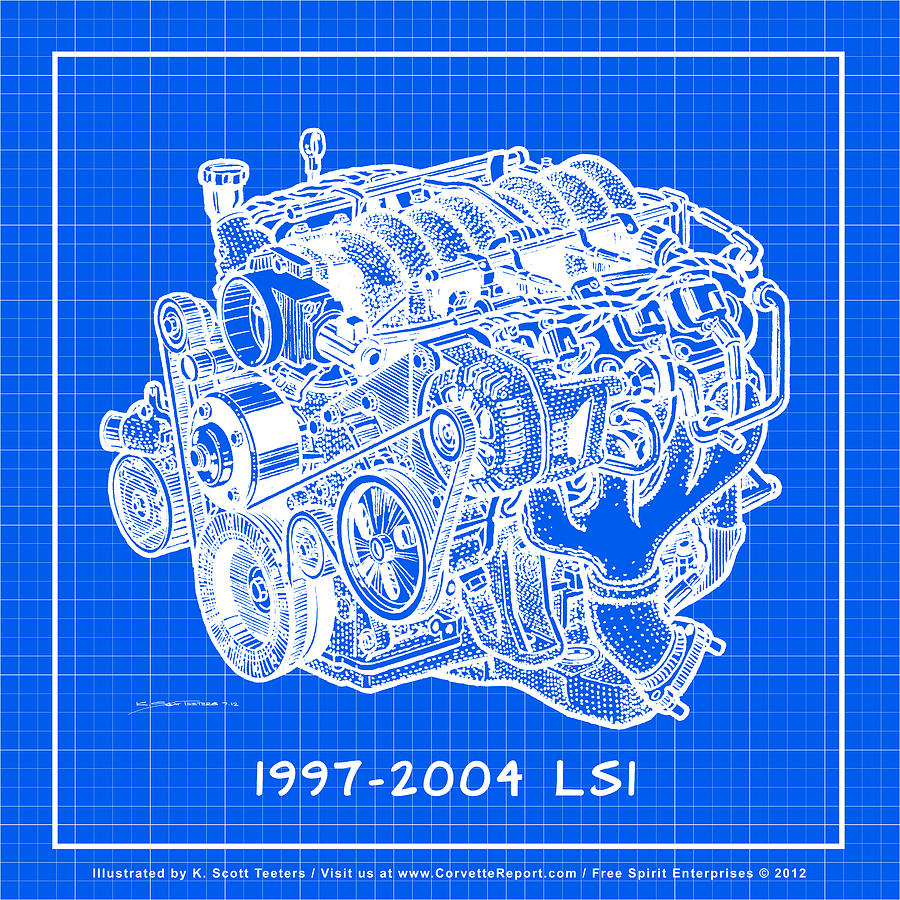 1997 2004 ls1 corvette engine reverse blueprint drawing by k scott c5 corvette drawing 1997 2004 ls1 corvette engine reverse blueprint by k scott teeters malvernweather Gallery