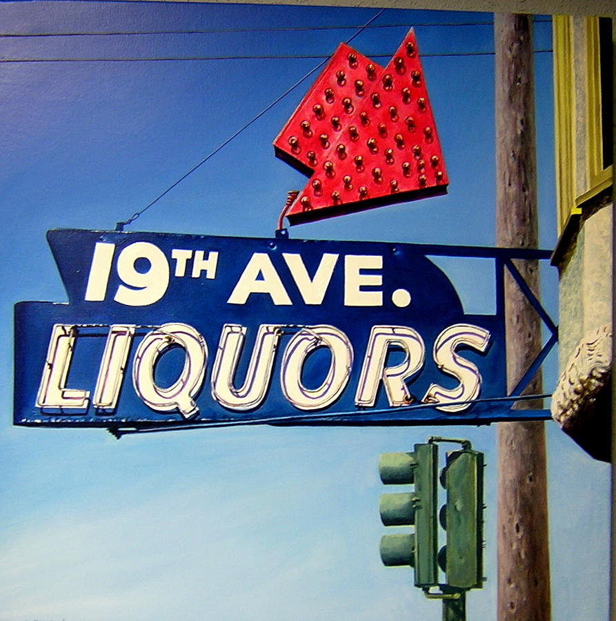 San Francisco Painting - 19th Ave Liquors by Jim Gleeson