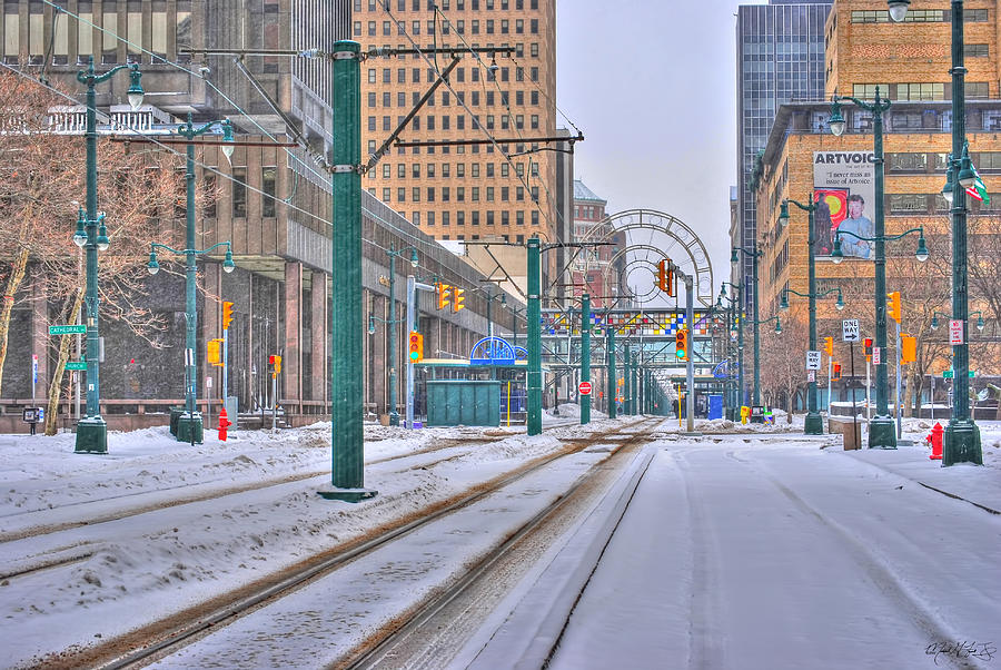 1st Real Snowfall Metro Rail 2012 Photograph by Michael Frank Jr