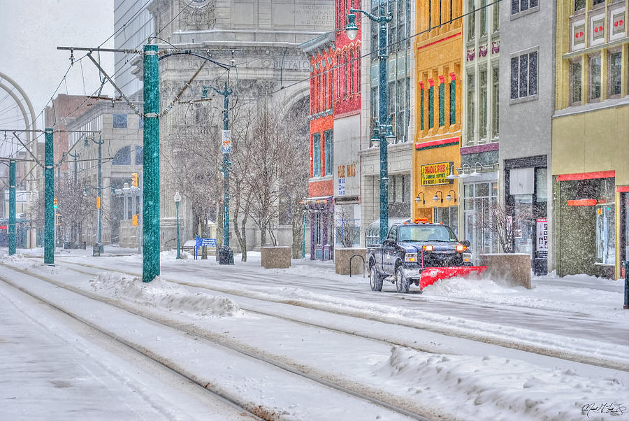 1st Real Snowfall Plow 2012 Photograph by Michael Frank Jr