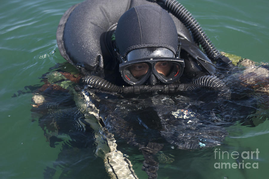 Diving Suit Photograph - A Navy Seal Combat Swimmer by Michael Wood