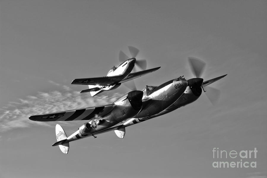 Black And White Photograph - A P-38 Lightning And P-51d Mustang by Scott Germain