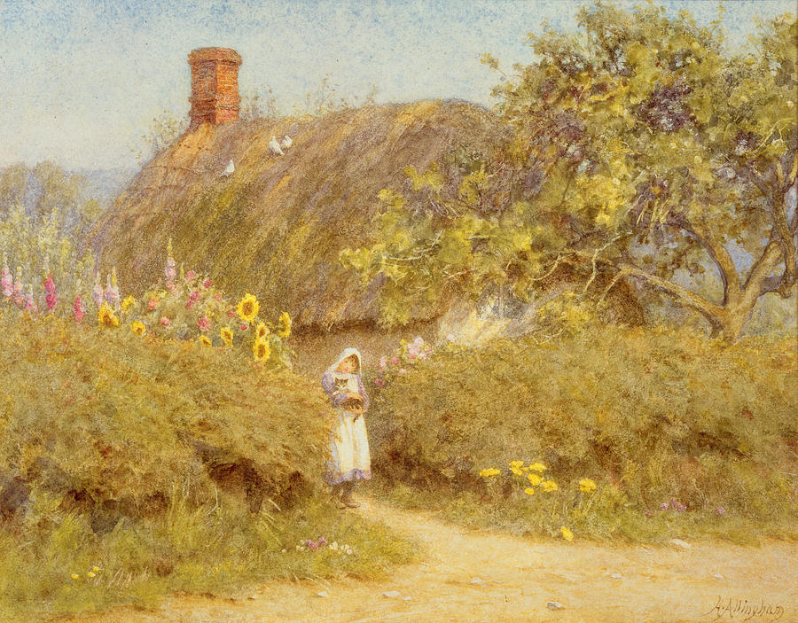 Surrey; Cottage; Rural; Country; Countryside; Thatch; Thatched; Sunny; Sunflowers;  Foxgloves; Flowers; Doves; Pigeons; Birds; Hedge; Female; Young; Child; Girl; Pinafore; Cat; Pet; Holding; Chimney; House; Home; Idyll Painting - A Surrey Cottage by Helen Allingham
