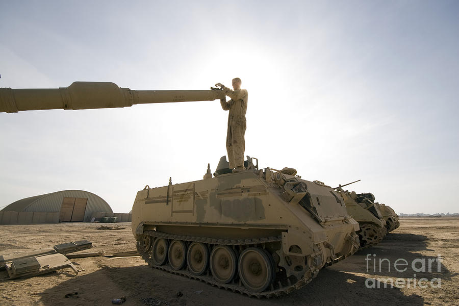 Bore Sight Photograph - A Us Army Mechanic Uses A M113 by Terry Moore