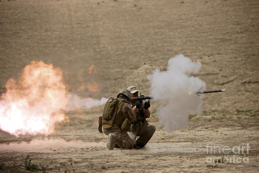 Operation Enduring Freedom Photograph - A U.s. Contractor Fires by Terry Moore