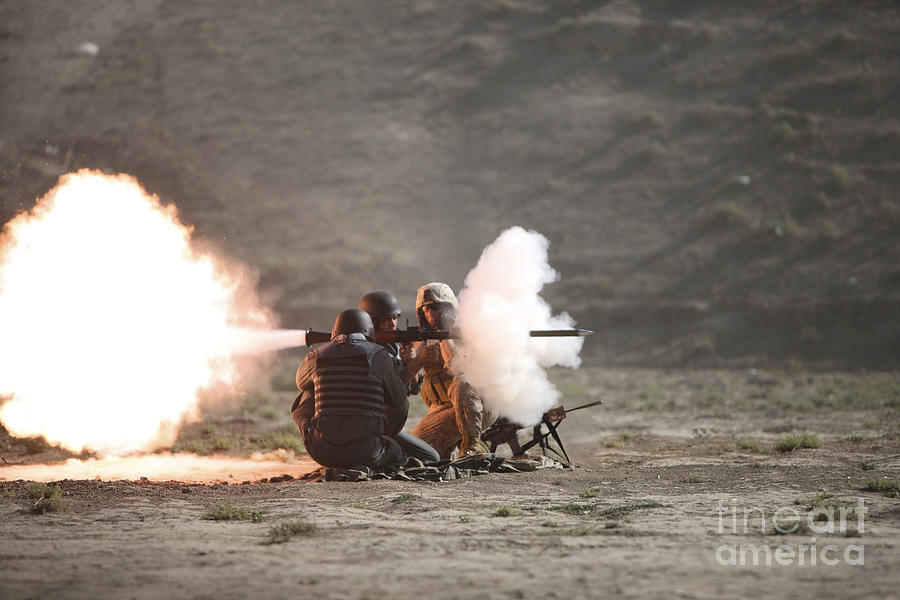 Afghan National Police Photograph - An Afghan Police Studen Fires by Terry Moore