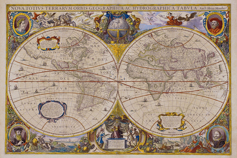 History Digital Art - Antique Map Of The World by Comstock