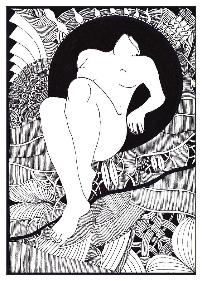 Woman Greeting Cards Pyrography - Art by Marek Burbul