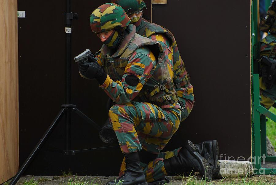 Adults Only Photograph - Belgian Paracommandos Entering by Luc De Jaeger