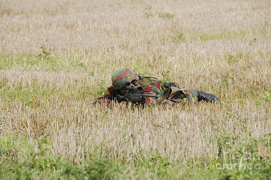 Aiming Photograph - Belgian Paratroopers On Guard by Luc De Jaeger