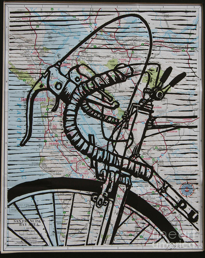 Print Drawing - Bike 2 On Map by William Cauthern