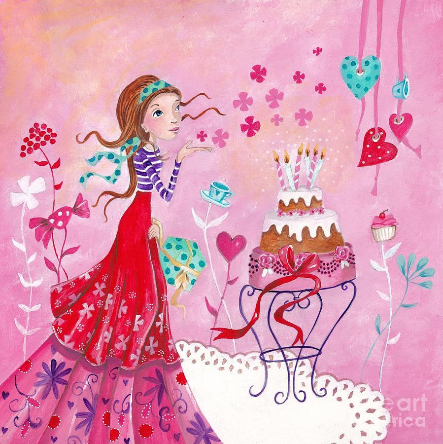 Caroline Bonne Muller Painting - Birthday Girl by Caroline Bonne-Muller