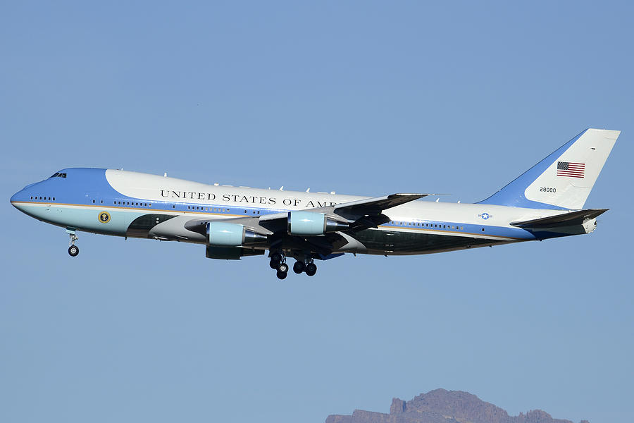Airplane Photograph - Boeing Vc-25a 82-8000 Air Force One Phoenix-mesa Gateway Airport January 25 2012 by Brian Lockett