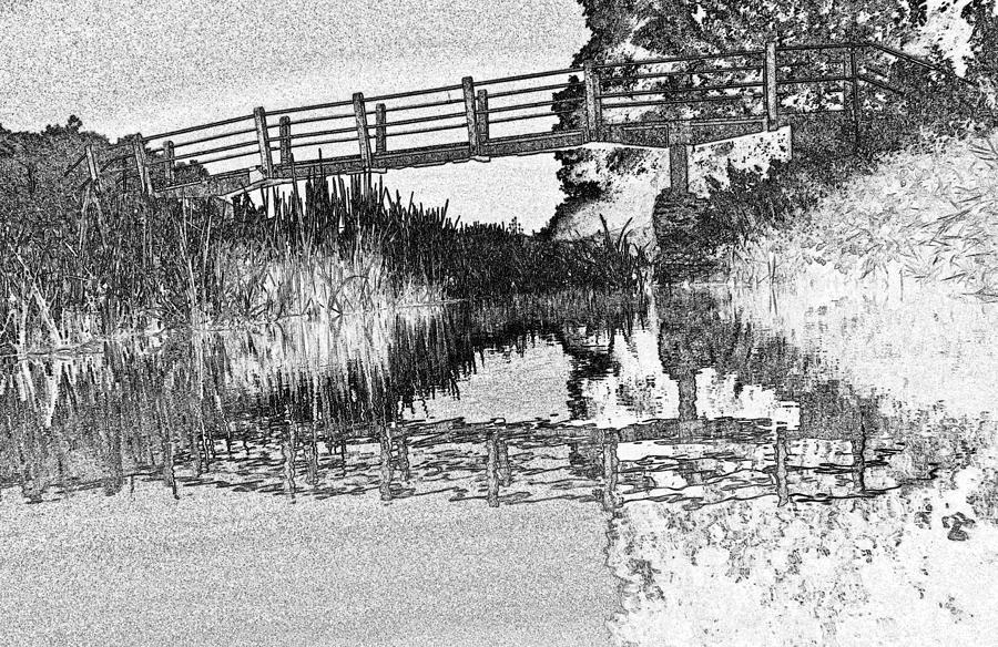 Bridge Digital Art - Bridge Across The River by David Pyatt