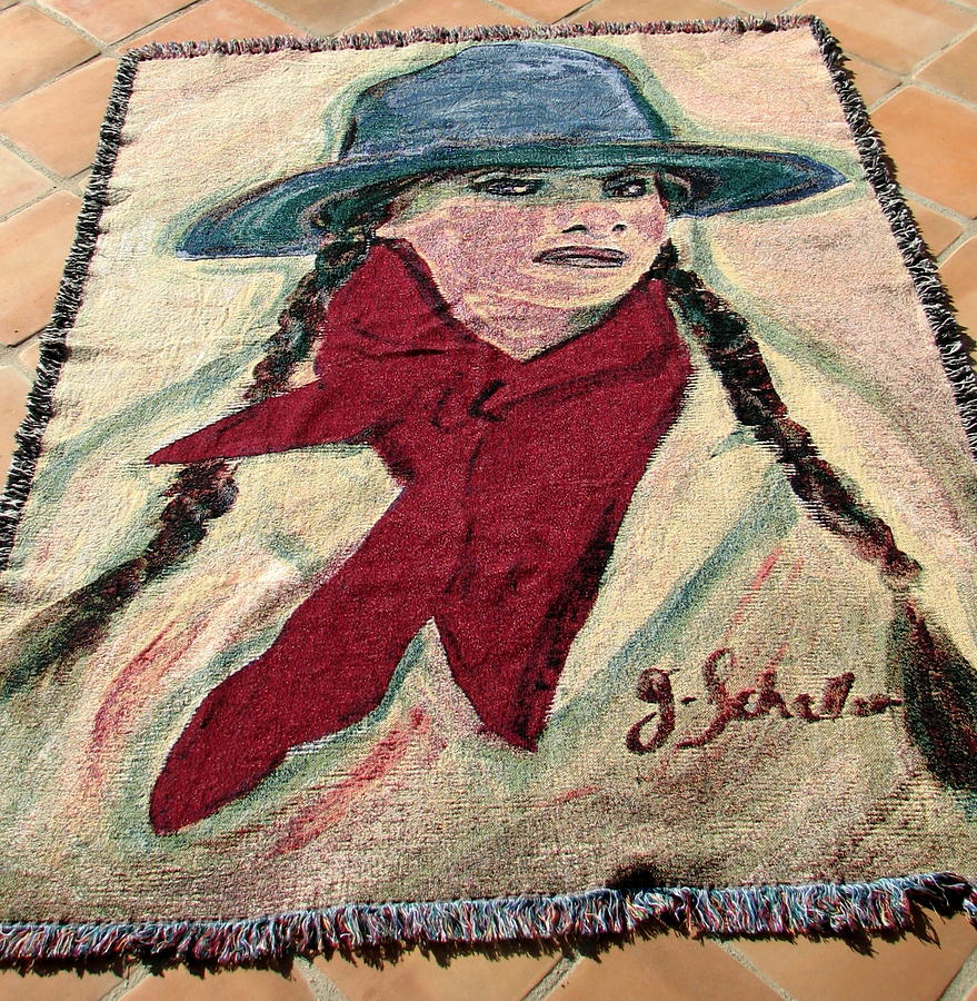 Western Art Tapestry - Textile - Buckeroo Cowgirl Tapestry by Jodie  Scheller