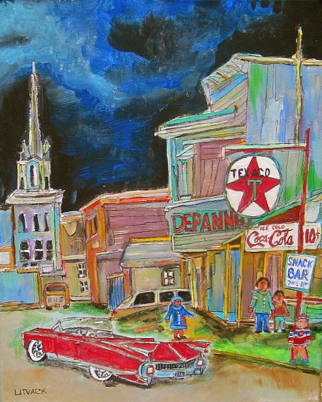Church Painting - Cadillac In Hawkesbury by Michael Litvack
