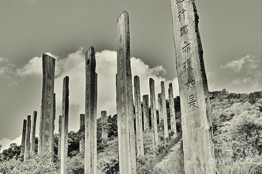 Monochrome Photograph - Carvings Of Buddhist Teachings by Joe  Ng