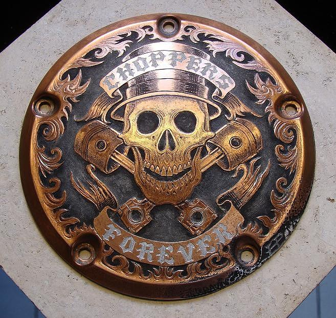 Hand Engraving Relief - Choppers Forever by Paul Holbrecht