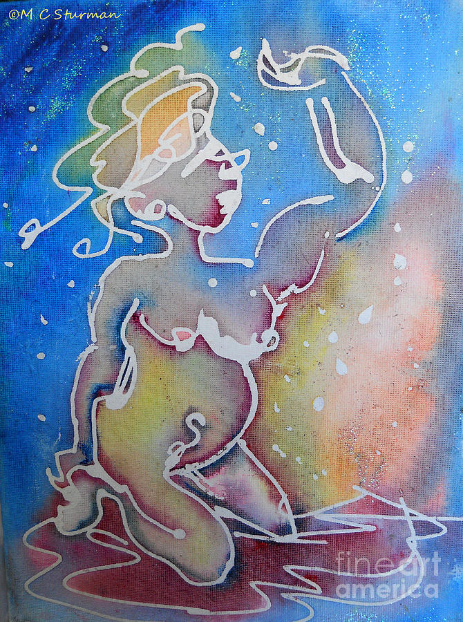 Nude Mixed Media - Colorful Abstract Nude by M c Sturman