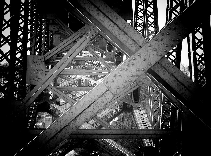 Black And White Photograph - Crooked River Bridge  by Franklin Jeffers