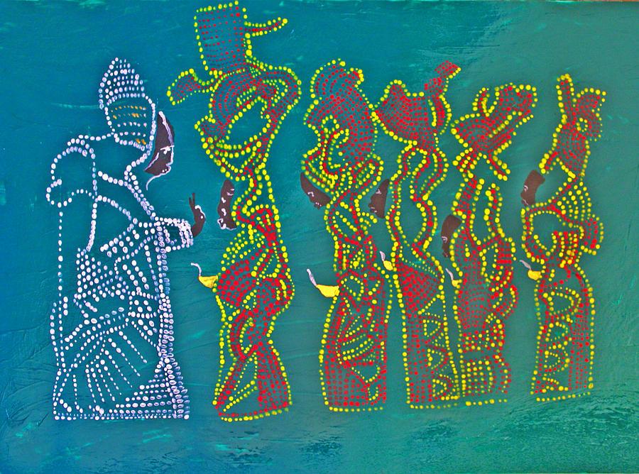 Jesus Painting - Dinka Wise Virgins by Gloria Ssali